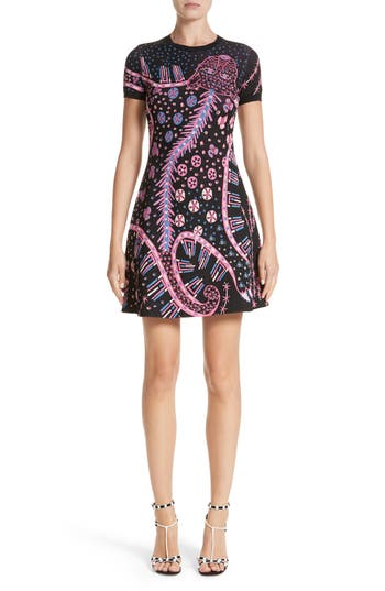 Valentino Leopard Stretch Knit Dress, Black