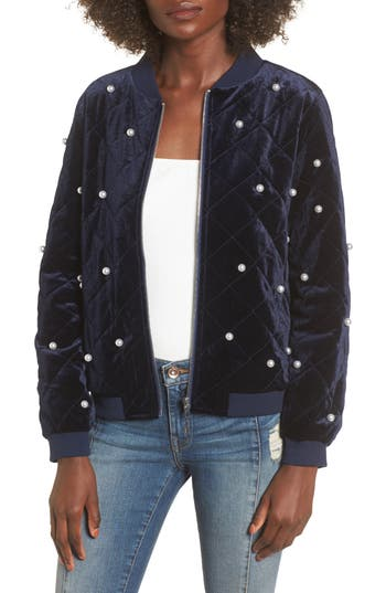 Women's Soprano Bead Embellished Quilted Bomber Jacket, Size X-Small - Blue