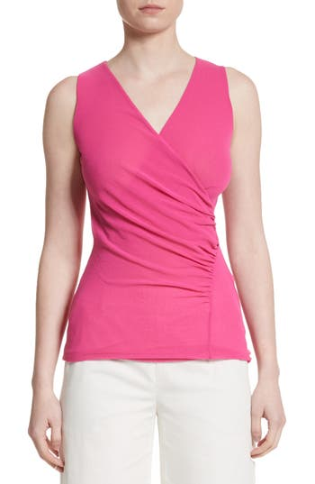 Fuzzi Ruched Tulle Tank, Pink