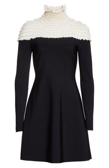 Women's Valentino Ruffle Neckline Knit Dress, Size Medium - Black