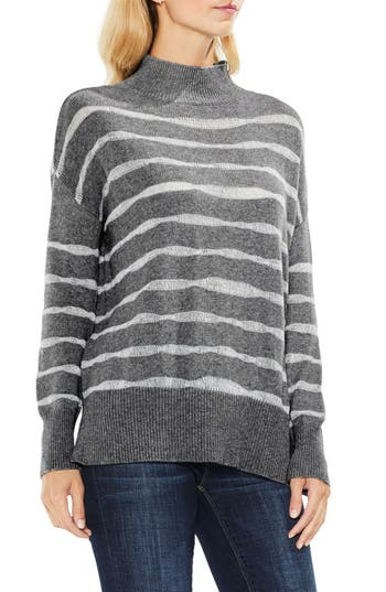 Women's Two By Vince Camuto Mock Neck Stripe Sweater, Size XX-Small - Grey