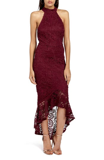 Missguided Lace Body-Con Dress, US / 6 UK - Burgundy