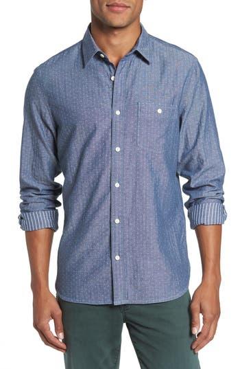 Nordstrom Shop Trim Fit Utility Duofold Sport Shirt, Blue