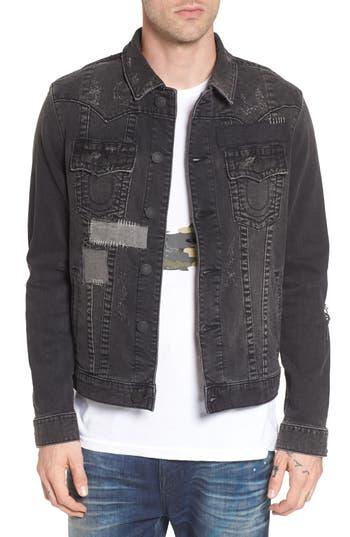 True Religion Brand Jeans Jimmy Mended Backstage Denim Jacket, Black