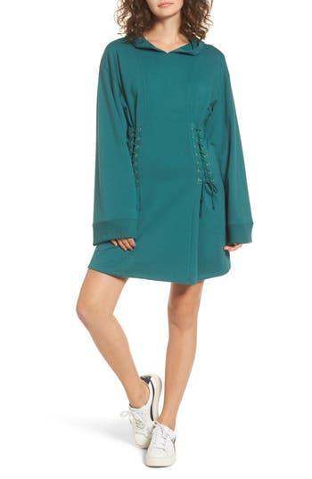 Bp. Corset Hoodie Sweatshirt Dress, Green