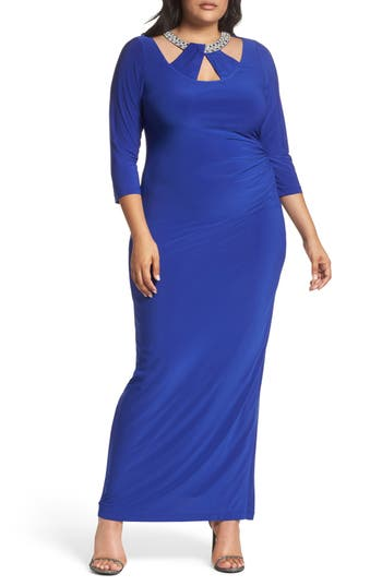Plus Size Marina Embellished Neck Matte Jersey Gown, Blue