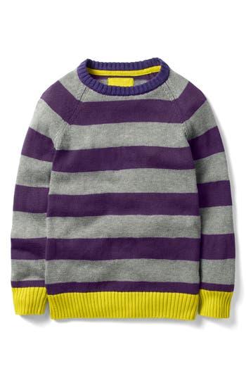 Boy's Mini Boden Striped Crewneck Sweater, Size 5-6Y - Purple