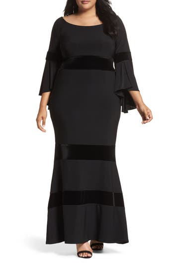 Plus Size Xscape Velvet Trim Maxi Dress, Black