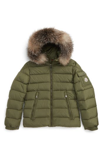 Boys Moncler Byron Water Resistant Down Jacket With Genuine Fox Fur Trim Size 8Y  Green
