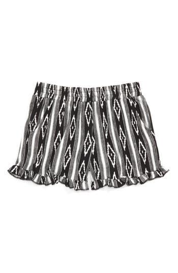 Girl's Tucker + Tate Print Ruffle Shorts, Size XL (14-16) - Black