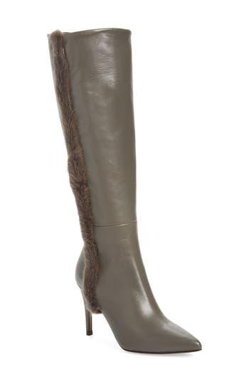 Donald J Pliner Rafela Genuine Mink Fur Trim Boot, Black