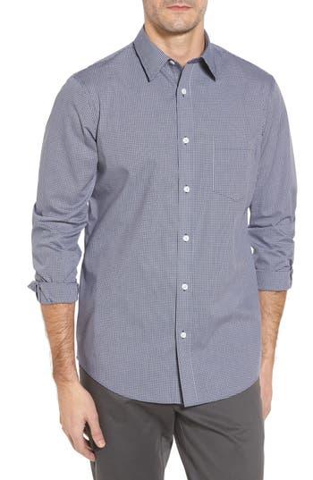 Nordstrom Shop Non-Iron Microcheck Sport Shirt, Blue
