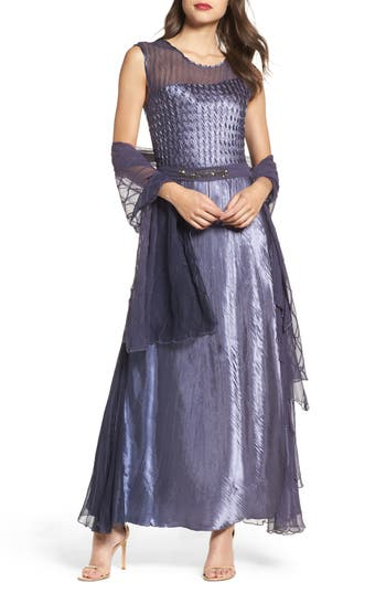Komarov Embellished Sash A-Line Gown With Wrap, Purple