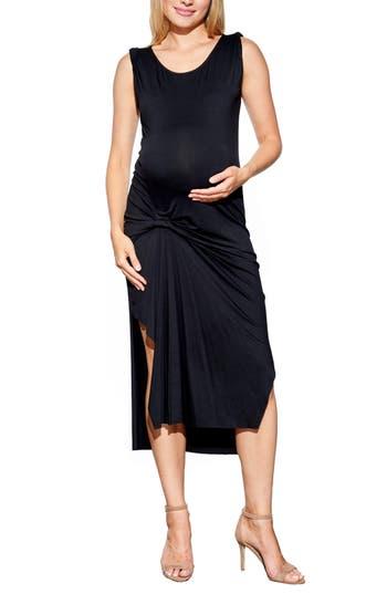 Maternal America Pleated Maternity Dress, Black