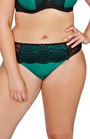 Plus Size Women's Ashley Graham Lace Thong, Size 0X - Green