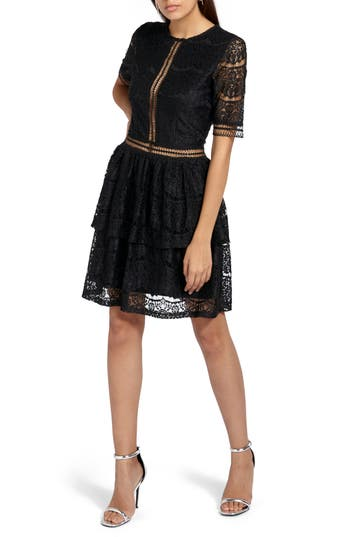 Missguided Lace Inset Fit & Flare Dress, US / 8 UK - Black