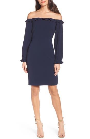 Chelsea28 Off The Shoulder Sheath Dress, Blue