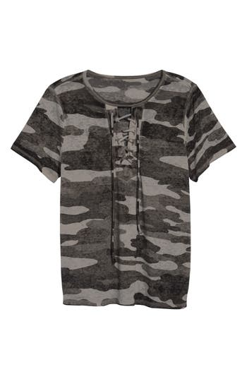Lucky Brand Lace-Up Camo Tee, Grey