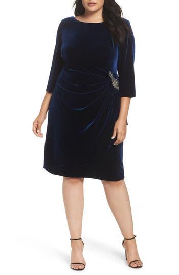 Plus Size Alex Evenings Embellished Faux Wrap Velvet Dress, Blue