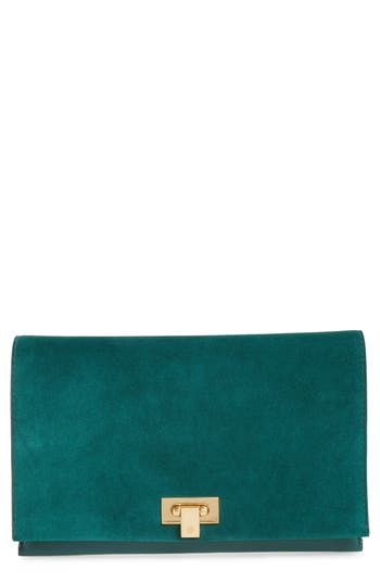 Tory Burch Carmen Leather Clutch - Green