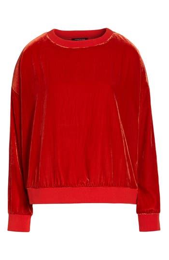 Kenneth Cole New York Zipper Velvet Sweatshirt, Red