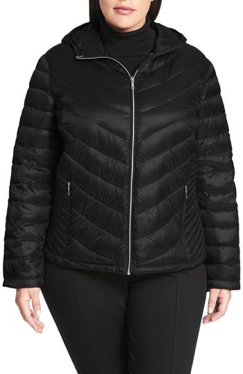 Plus Size Calvin Klein Packable Quilted Down Jacket, Black
