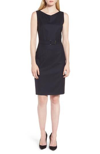 Boss Dinalia Mini Dot Belted Wool Sheath Dress, Blue