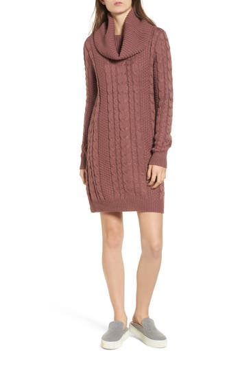 Everly Cowl Neck Sweater Dress, Pink