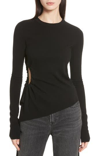 T By Alexander Side Cutout Ruched Merino Wool Sweater
