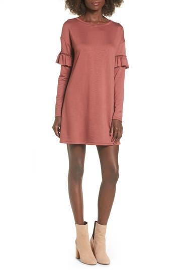 Socialite Ruffle Sleeve Sweater Dress, Brown