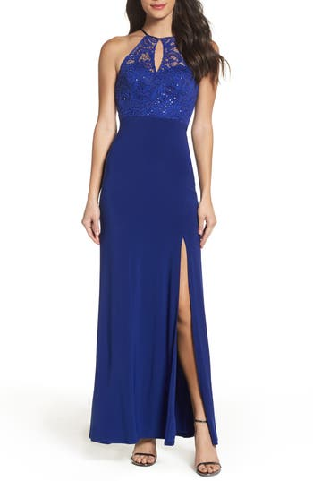 Sequin Hearts Side Slit Lace & Jersey Gown, Blue