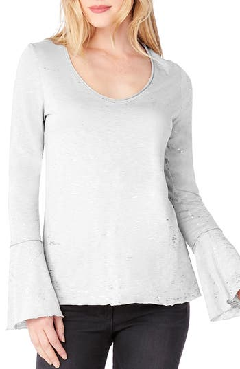 Michael Stars Bell Cuff Foiled Knit Top, Size One Size - White