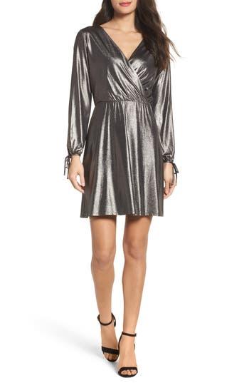 19 Cooper Metallic Faux Wrap Dress, Metallic