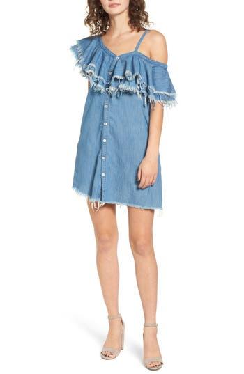 Women's Blanknyc Asymmetric Ruffle Shift Dress, Size X-Small - Blue