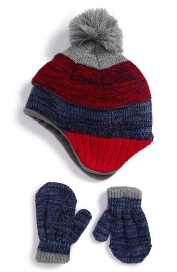 Toddler Nolan Glove Pompom Beanie & Mittens Set