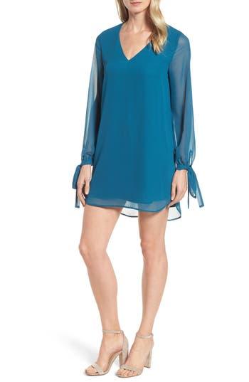 Halogen Tie-Sleeve Shift Dress, Blue/green
