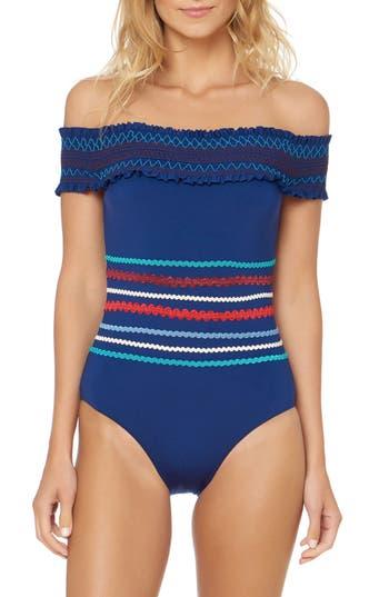 Red Carter Smocked Off The Shoulder Swimsuit, Blue