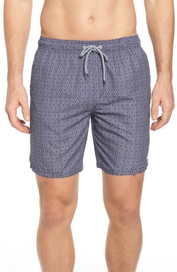 Ted Baker London Seada Diamond Print Swim Shorts, Blue