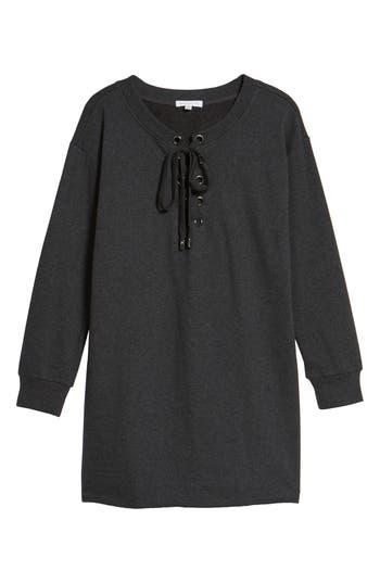 Socialite Lace-Up Sweatshirt Dress, Grey