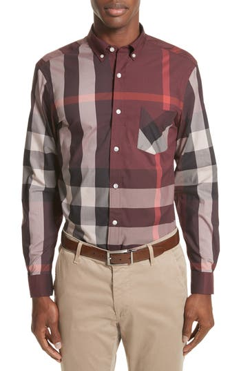 EAN 5045550003328 product image for Men's Burberry Thornaby Slim Fit Plaid Sportshirt, Size XX-Large - Burgundy | upcitemdb.com