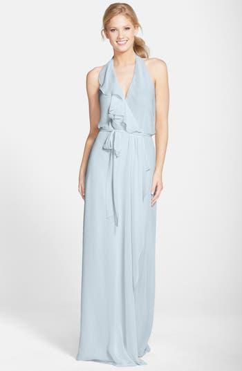 Women's Nouvelle Amsale 'Erica' Ruffle Chiffon Halter Neck Wrap Gown, Size X-Small - Grey