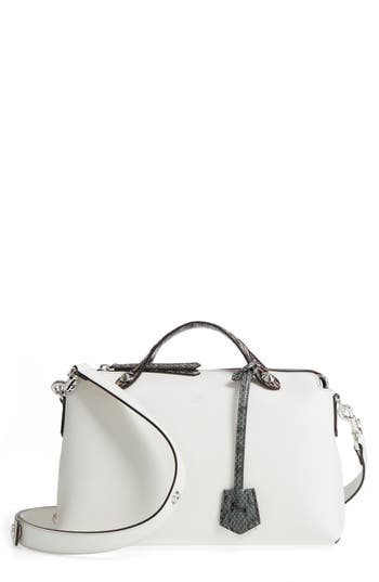 Fendi 'Medium By The Way' Calfskin Leather Shoulder Bag With Genuine Snakeskin Trim - White