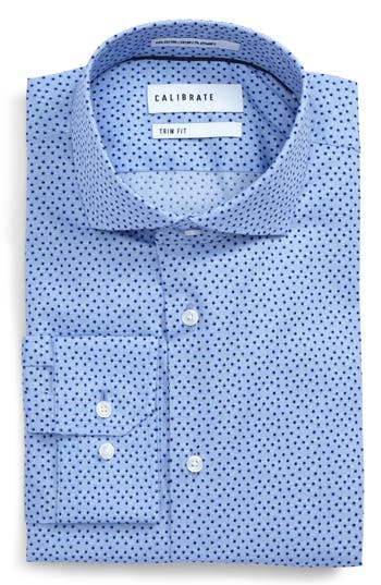 Men's Calibrate Trim Fit Dot Print Dress Shirt