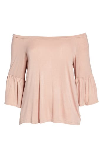 Plus Size Women's Bobeau Off The Shoulder Bell Sleeve Top, Size 2X - Pink