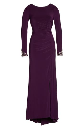 Eliza J Beaded Sleeve Ruched Jersey Gown, Purple