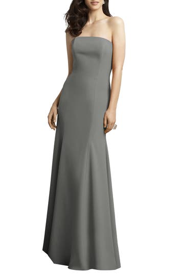 Dessy Collection Strapless Crepe Trumpet Gown, Grey