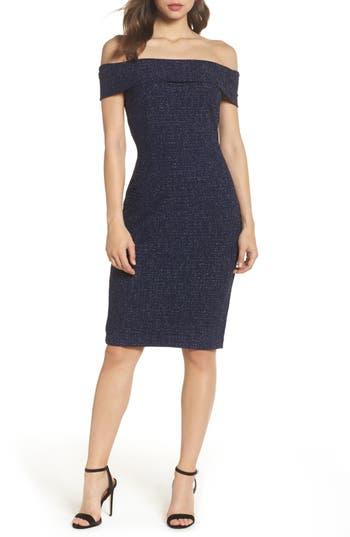 Eliza J Off The Shoulder Metallic Sheath Dress, Blue
