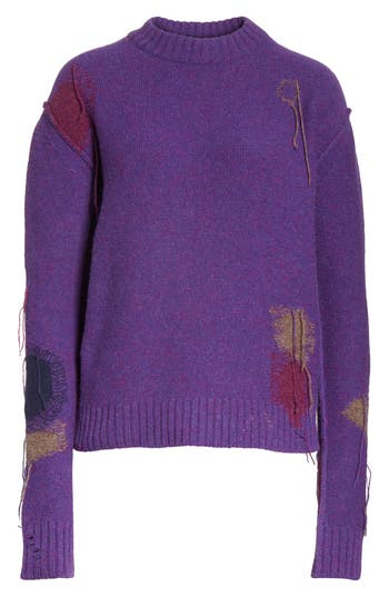Acne Studios Leniz Distressed Wool Sweater, Purple