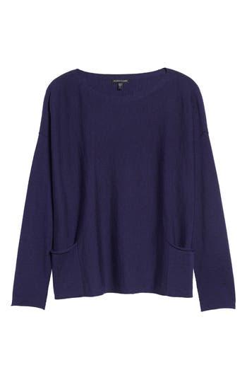 Eileen Fisher Bateau Neck Merino Boxy Top, Purple