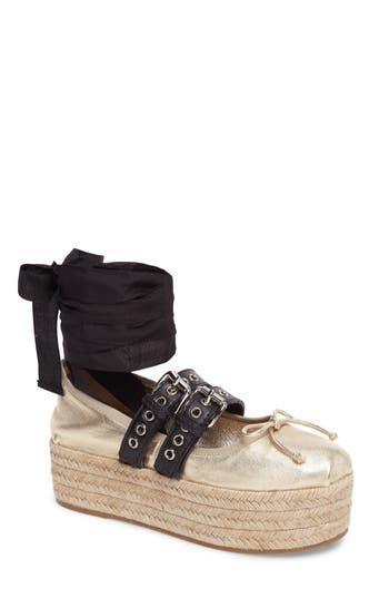 Miu Miu Ankle Wrap Platform Espadrille - Metallic